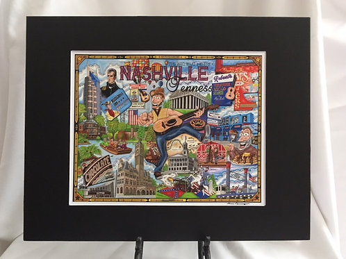 The Who, What and Where of Nashville 11 x 14 Signed Matted Print