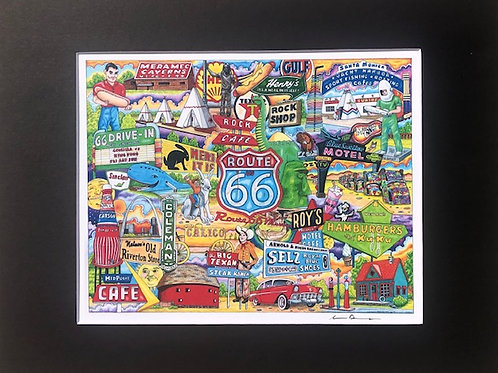 Route 66 signed 11 x 14 Matted Print