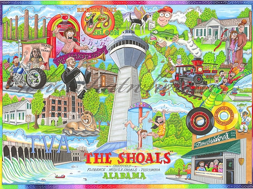 """The Shoals"" of Alabama 12"" x 16"""