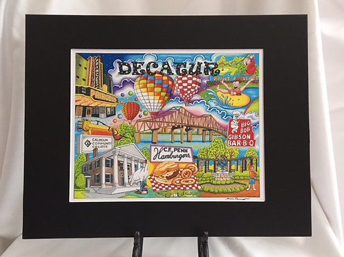 The Who, What and Where of Decatur, Alabama signed 11 x 14 matted print