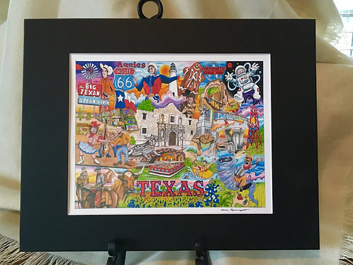 The Who, What and Where of Texas signed 11 x 14 matted print