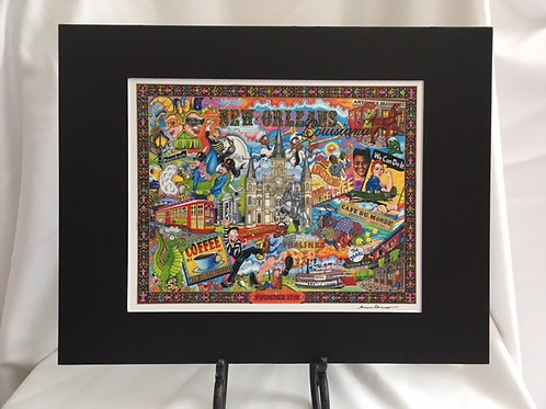 The Who, What and Where of New Orleans 11 x 14 signed Matted Print