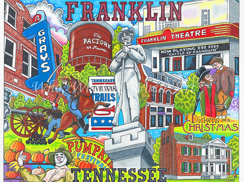 "Franklin, Tennessee ""12 x 16"""