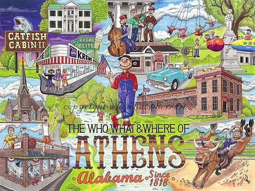 "Athens, AL 12""x16"""
