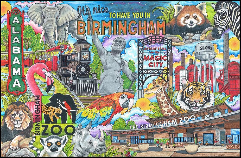 Birmingham Zoo Postcard Image Got Print.