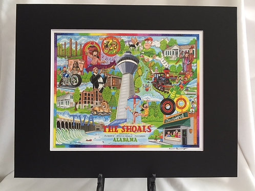 The Who, What and Where of the Shoals of Alabama signed 11 x 14 matted print
