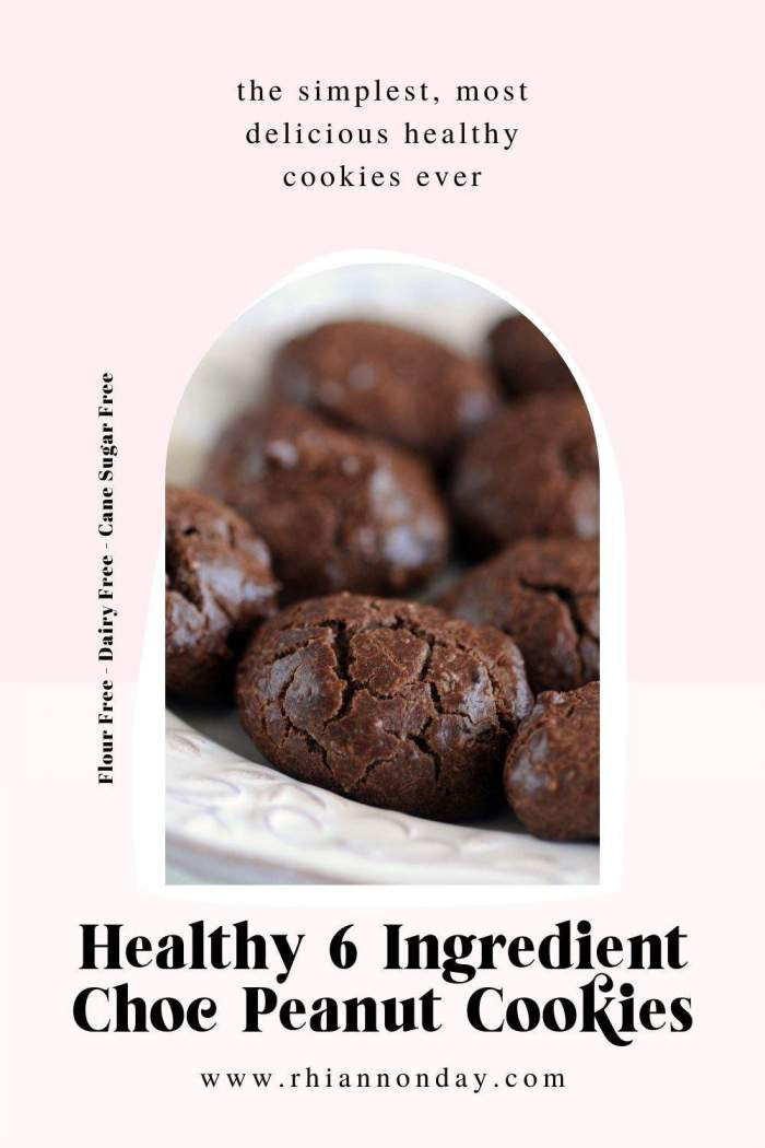 Want a chocolate peanut cookie recipe that is healthy, quick and only uses 6 ingredients?  Get them in your belly right now with this tried and true recipe. #healthycookies #healthybaking #chocolate #chocolatecookies