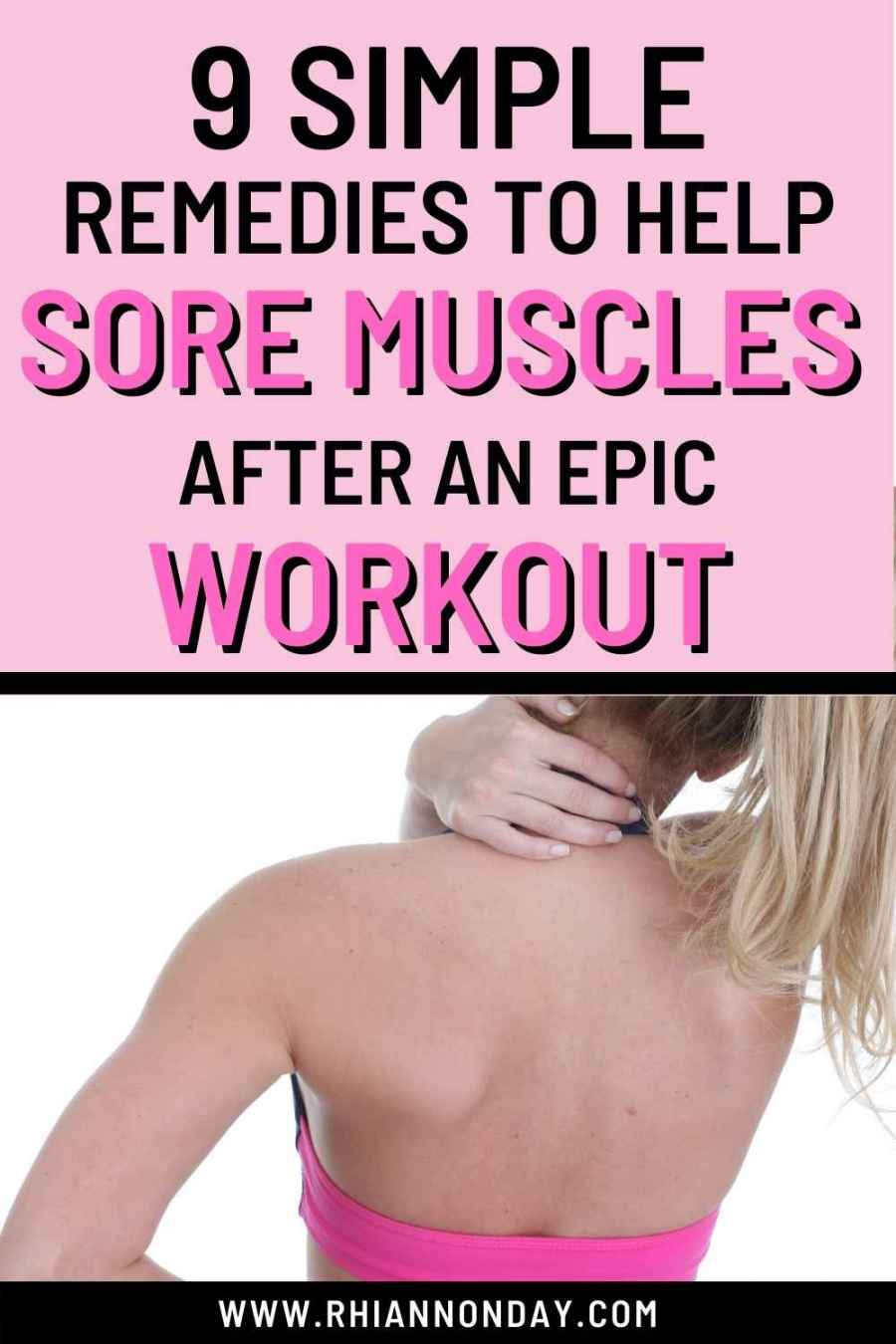 Do you struggle with sore muscles after working out?  Here's how to relieve post-exercise muscle soreness fast. #fitnesstips #personaltrainer #soremuscles #homeremedies #fitnesshacks