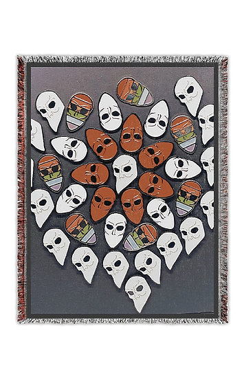 SNM Mask Pin Collage Woven Tapestry