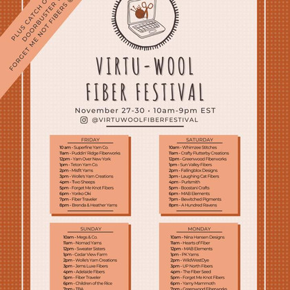 November Virtu-Wool Fiber Festival