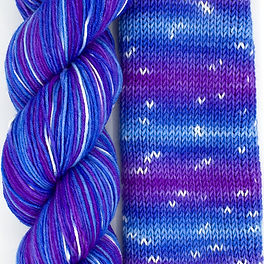 Snow on the Horizon skein and swatch.jpg