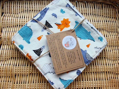 Reusable baby wipes. Set of 5 in dinosaurs design