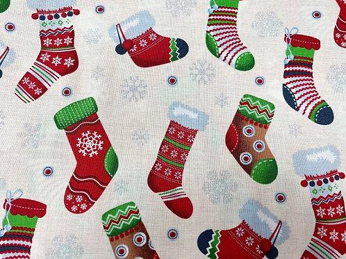 Snowflake & Christmas Stockings 100% cotton