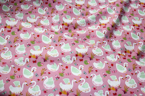 Beautiful Swans-Mauve 100% Cotton Poplin by Poppy Europe. Oeko-tex certified.