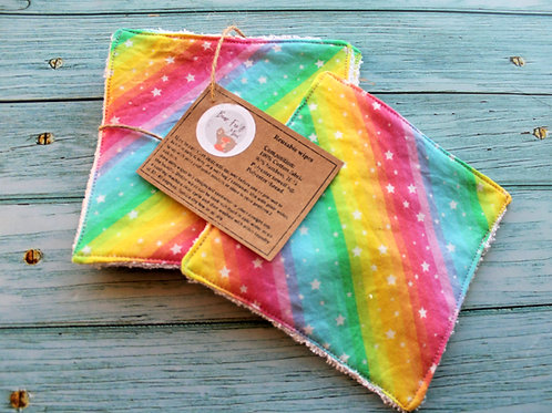 Reusable baby wipes. Set of 5 in Rainbow stripes design