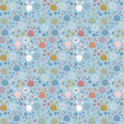Bunny- Light Blue 100 % Cotton Poplin by Poppy Europe. Oeko-tex