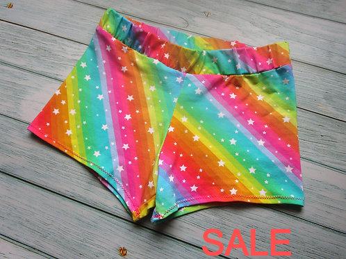 Rainbow Stripes Shortie Shorts