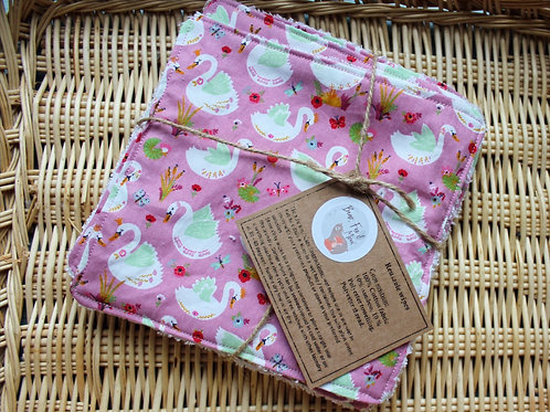 Reusable baby wipes. Set of 5 in swans design