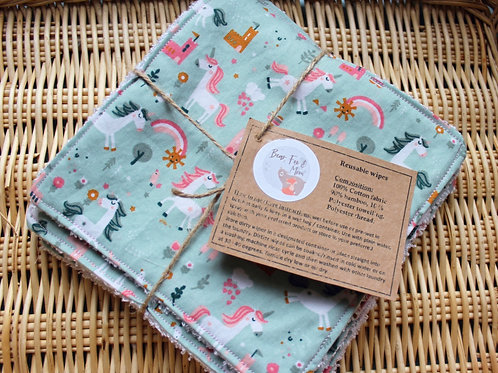 Reusable baby wipes. Set of 5 in Unicorn design