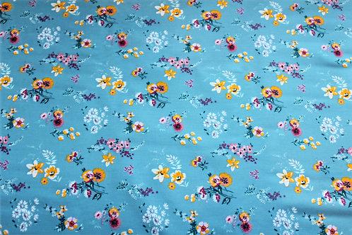 Flowery - blue 100% Cotton Poplin fabric by Poppy Europe. Oeko-tex certified
