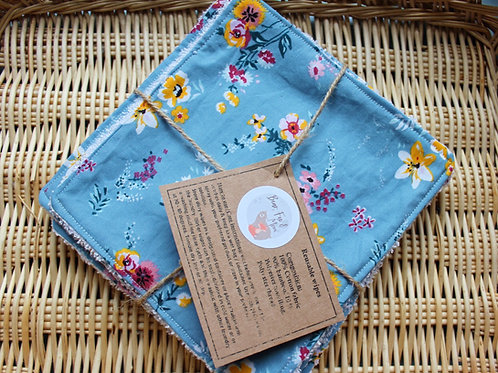 Reusable baby wipes. Set of 5 in floral design