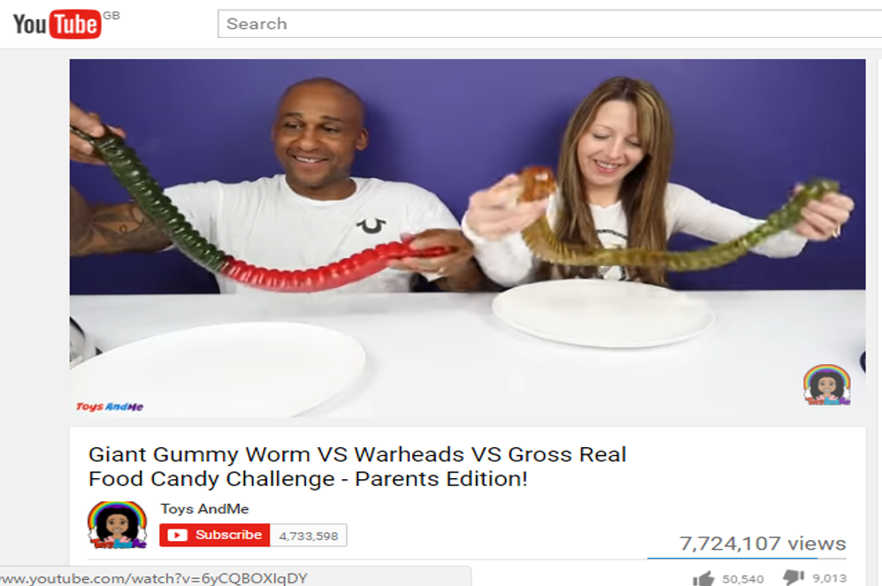 Gummy Worm YouTube 'ToysAndMe'