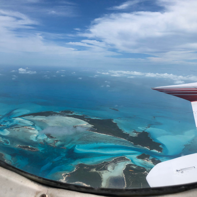 Great views out of the window over the Exumas Island chain in the Bahamas