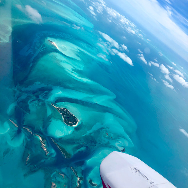 Flying over the Exuma Island Chain of the Bahamas