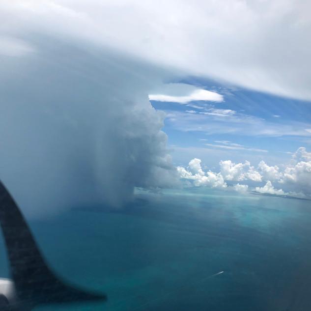 Summer rain shower near Bimini in the Bahamas