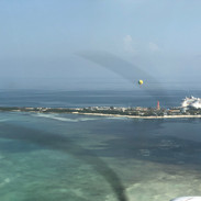 Flying over Royal Carribean's Coco Cay in the Bahamas