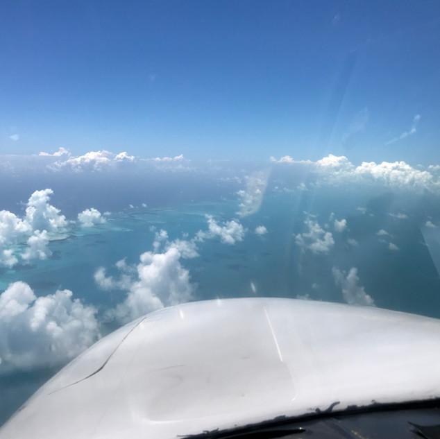 Flying over the Exuma Islands, Bahamas