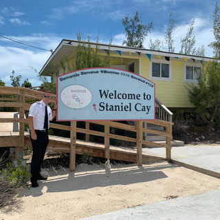 Our pilot Travis visiting Staniel Cay, Bahamas