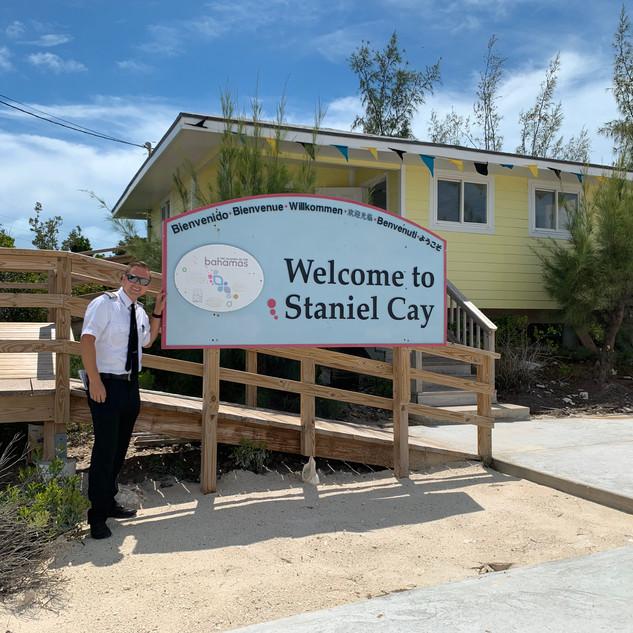 Our pilot Travis visiting Staniel Cay, Bahamas