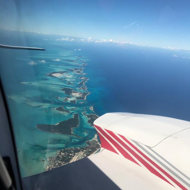 Flying over the Exuma Island Chain, Bahamas