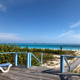 View from the famous Beach Club in Great Harboury Cay, Bahamas