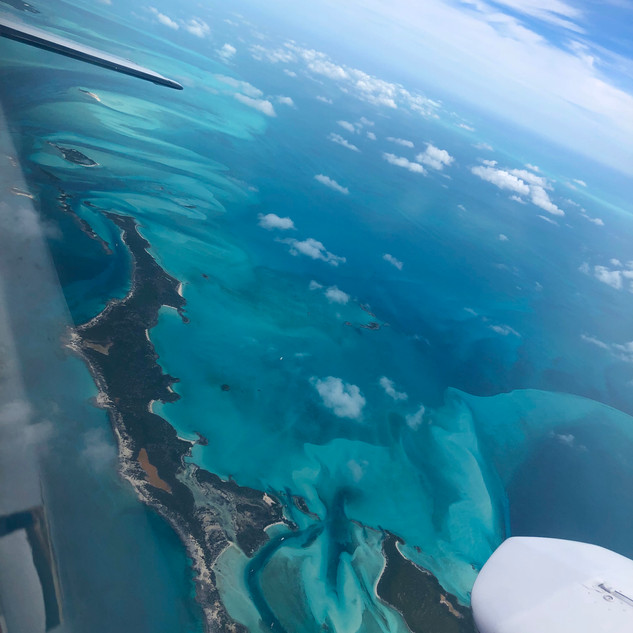Flying over Exuma Island Chain, Bahamas