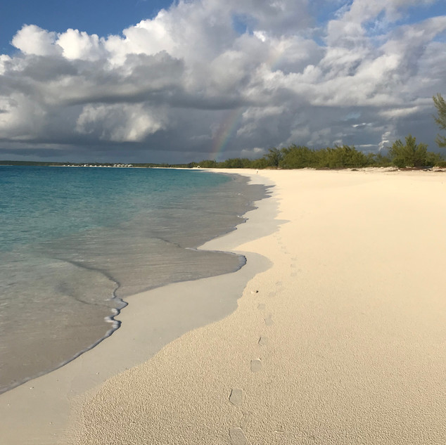 Walking the beach of Great Harbour Cay, Bahamas