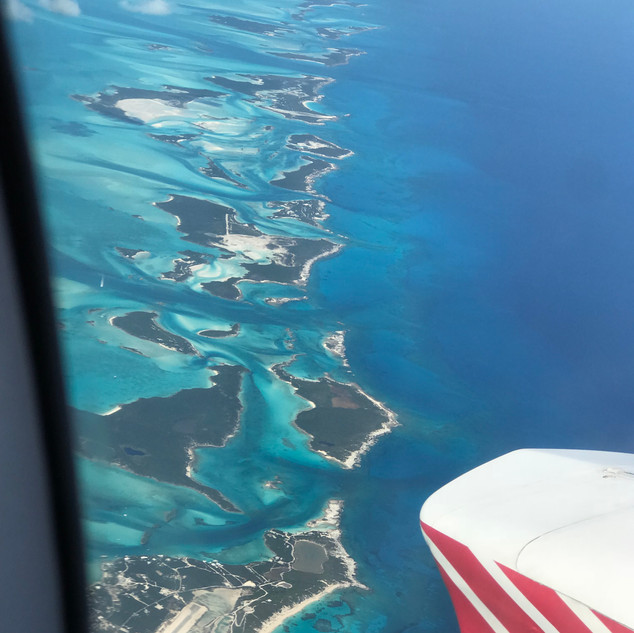 Flying above Staniel Cay, Bahamas