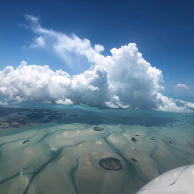 Flying over Andros Island, Bahamas
