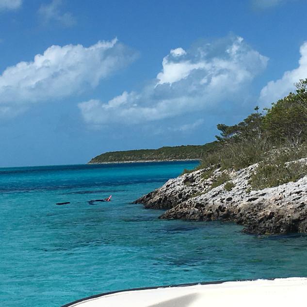 Snorkeling near Staniel Cay, Bahamas