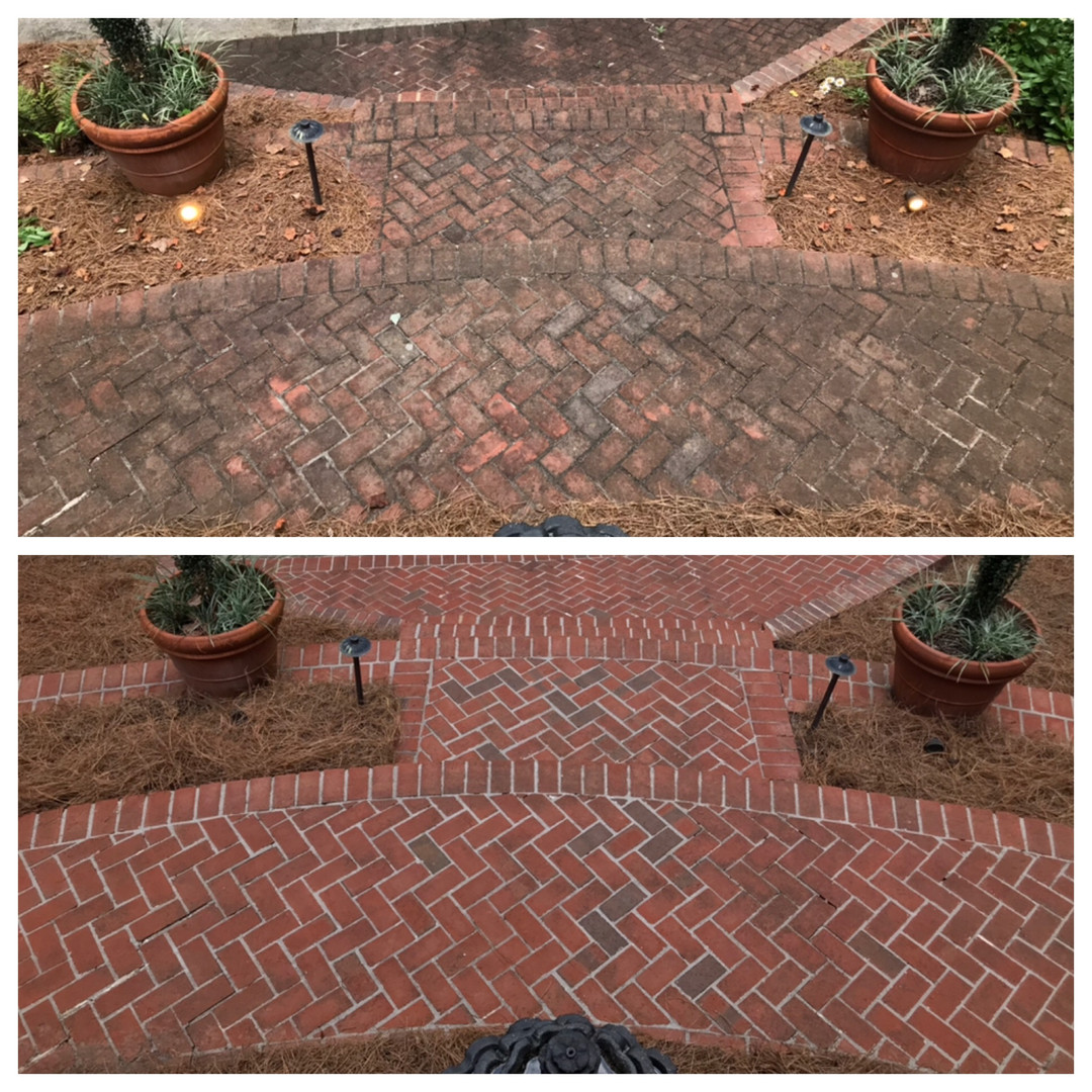Pressure Washing front patio before and