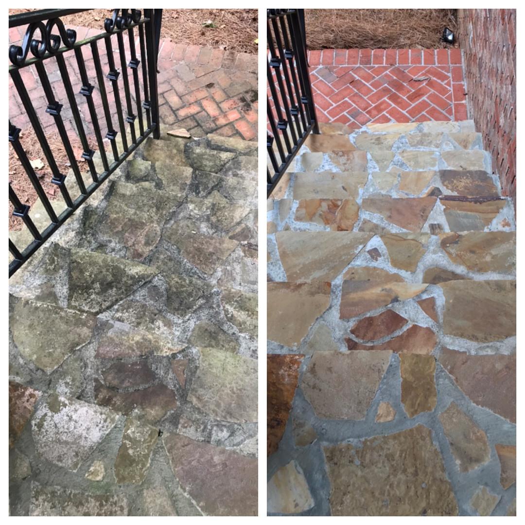 Pressure Washing stone steps Smyrna GA.
