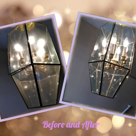 Window Cleaning Chandelier before and after