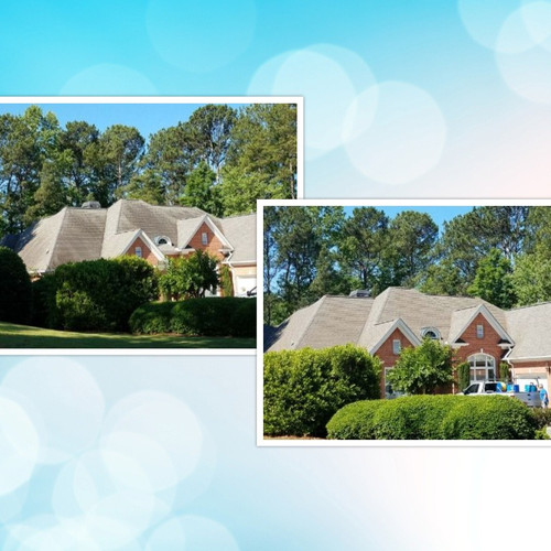 Roof Cleaning before and after Canton Ga