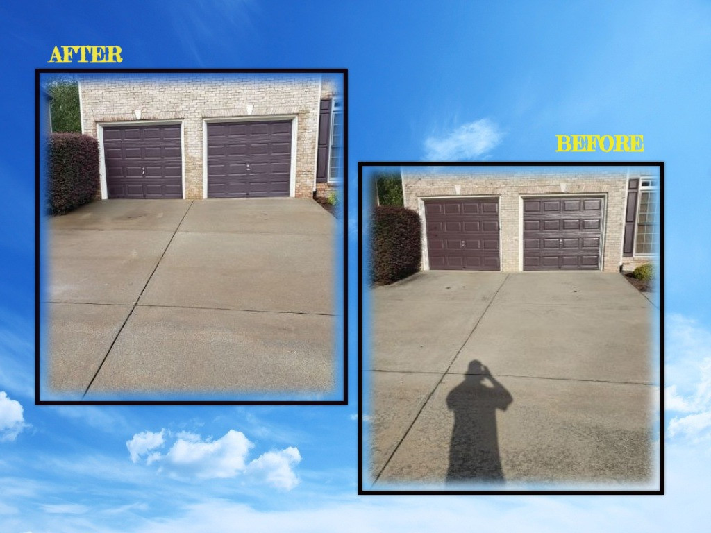 Pressure Washing Driveway before and after