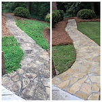 Pressure washing stone walkway before and after