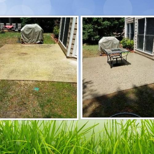 Pressure Wash patio before & after Woodstock GA