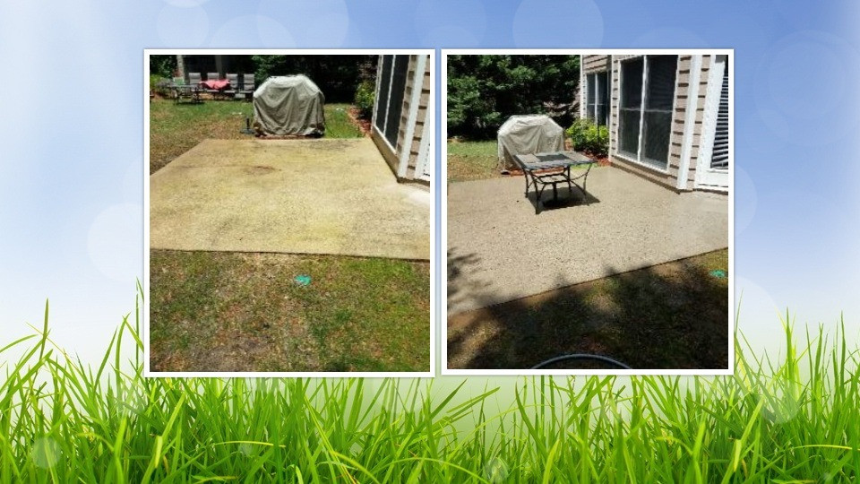 Pressure Wash patio before & after Woodstock GA