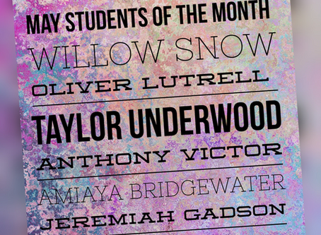 Middle School Students of the Month for May
