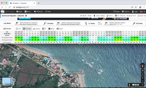 Wind Guru Forecast overlayed Google Maps of Kite Beach
